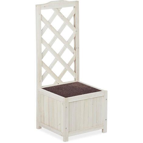 Relaxdays Planter Box with Trellis, Weatherproof, Wooden, Balcony, Garden Bed, 90 cm Lattice, 20 L, White