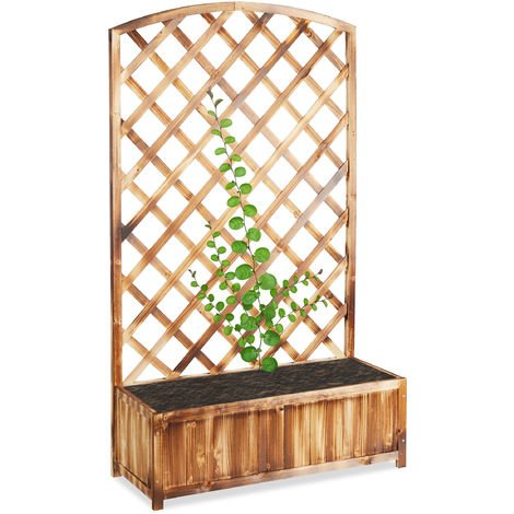 Relaxdays Planter Box with Trellis, Weatherproof, Wooden, Balcony, Garden Bed, Lattice, HxWxD: 153 x 90 x 35.5 cm, Flamed