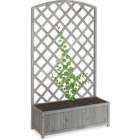 Relaxdays Planter Box with Trellis, Weatherproof, Wooden, Balcony, Garden Bed, Lattice, HxWxD: 153 x 90 x 35.5 cm, Grey
