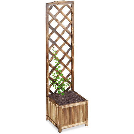 Relaxdays Planter Box with Trellis, Weatherproof, Wooden, Balcony, Garden Bed, Wine, 147 cm Lattice, Flamed