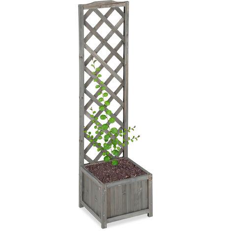 Relaxdays Planter Box with Trellis, Weatherproof, Wooden, Balcony, Garden Bed, Wine, 147 cm Lattice, Grey
