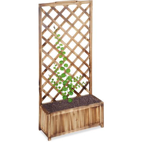 Relaxdays Planter Box with Trellis, Weatherproof, Wooden, Balcony, Garden Bed, Wine, 150 cm Lattice, Flamed