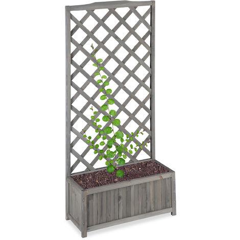 Relaxdays Planter Box with Trellis, Weatherproof, Wooden, Balcony, Garden Bed, Wine, 150 cm Lattice, Grey