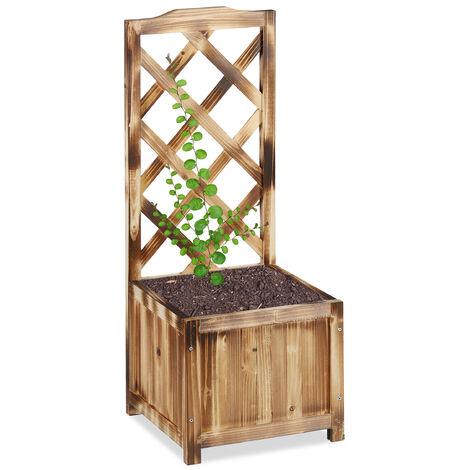 Relaxdays Planter Box with Trellis, Weatherproof, Wooden, Balcony, Garden Bed, Wine, 90 cm Lattice, Flamed