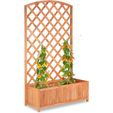 Relaxdays Planter Box with Trellis, XXL, Privacy Screen, Lattice for Climbing Plants, Fir Wood, HWD: 152x90x35cm, Natural