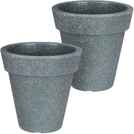 Relaxdays Planter, Set of 2, Round, Flower Tub, Out- & Indoor, Plastic, Plant Pot, 10 L Capacity, Anthracite