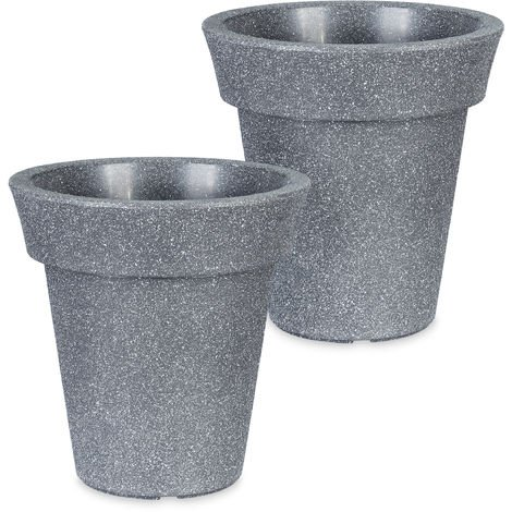 Relaxdays Planter, Set of 2, Round, XL Flower Tub, Out- & Indoor, Plastic, Plant Pot, 20 L Capacity, Diff. Colours