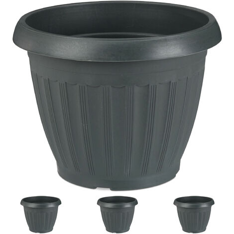 Relaxdays Planter, Set of 4, Round, Flower Tub, Out- & Indoor, Plastic, Plant Pot, 13 L Capacity, Anthracite