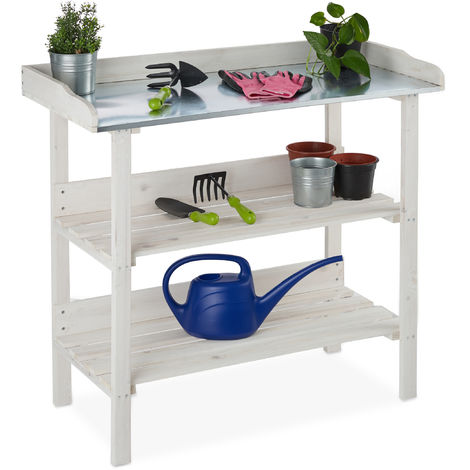 Relaxdays Planter Table with Metal Top, Repotting Stand, Wooden, Garden, Greenhouse, Balcony, 86x92x41, White