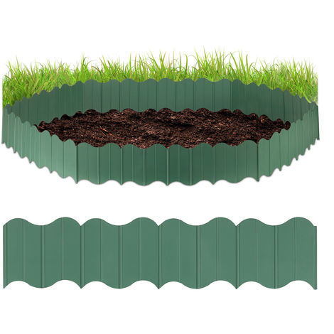 Relaxdays Plastic Garden Lawn Edging, 6-Piece Set, Interlocking, Fence Kit, Green