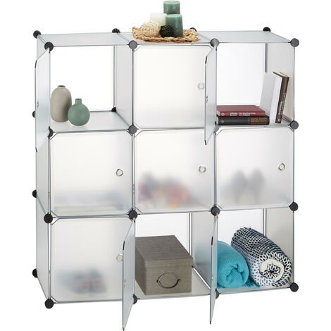 Relaxdays Plastic Modular Shelf, 9 Compartments, Shelving System with Doors, Cube Shelf, HWD 110 x 110 x 37 cm, Transparent