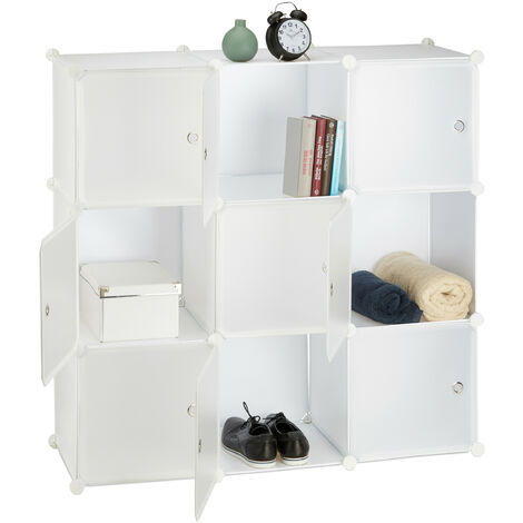Relaxdays Plastic Modular Shelf, 9 Compartments, Shelving System with Doors, Cube Shelf, HWD 110 x 110 x 37 cm, White
