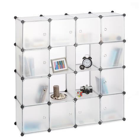 "main image of ""Relaxdays Plastic Modular Shelf, Expandable 16 Compartment Wardrobe System, DIY, 127x127x31.5 cm, Transparent"""