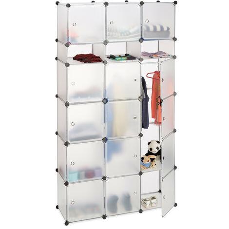 Relaxdays Plastic Modular Wardrobe System, Shelf with 2 Clothes Rail, Versatile Shelving System, Transparent