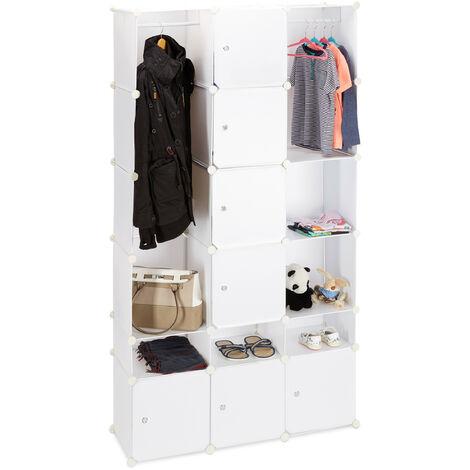 Relaxdays Plastic Modular Wardrobe System, Shelf with 2 Clothes Rail, Versatile Shelving System, White
