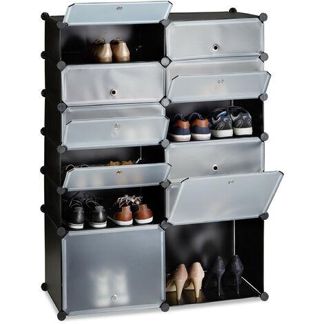 Relaxdays Plastic Shoe Cabinet, 12 Compartment Shoe Rack, XXL Modular Shelf, H x W x D: 125 x 94 x 37 cm, Black