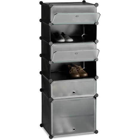 Relaxdays Plastic Shoe Cabinet, Modular Shelving System with 6 Compartments and Doors, DIY, HWD 52 x 37 x 9 cm, Black