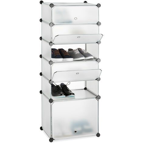 Relaxdays Plastic Shoe Cabinet, Modular Shelving System with 6 Compartments and Doors, DIY, HWD 52 x 37 x 9 cm, Transparent