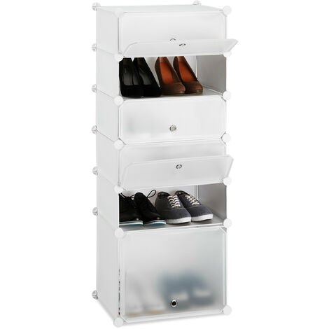 Relaxdays Plastic Shoe Cabinet, Modular Shelving System with 6 Compartments and Doors, DIY, HWD 52 x 37 x 9 cm, White
