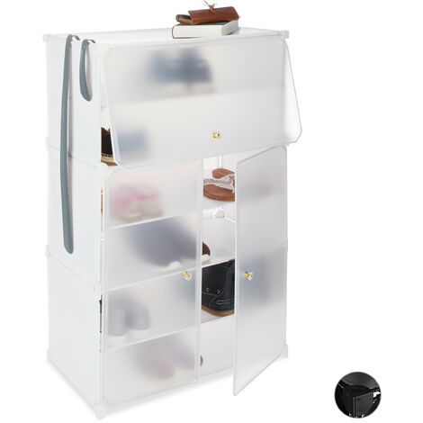 Relaxdays Plastic Shoe Cabinet, XL Modular Shelf, Shoe Rack for 24 Pairs, 6 Compartments, 94x61.5x31.5 cm, White