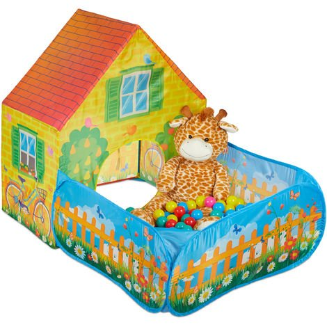 Relaxdays Play Tent With Ball Pool, Square Playhouse, Boys & Girls, Pop-up House, 3 Years & Up, 110x90x146 cm, Yellow
