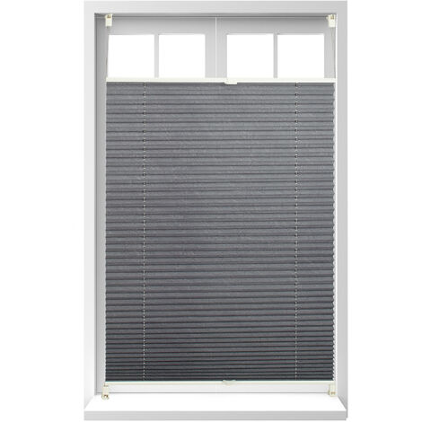 Relaxdays Pleated Blinds, No-Drilling, Adhesive Klemmfix, Folding Roller, Transparent, Shades, Grey, 100 x 130 cm