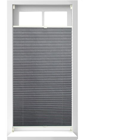Relaxdays Pleated Blinds, No-Drilling, Adhesive Klemmfix, Folding Roller, Transparent, Shades, Grey, 60 x 130 cm