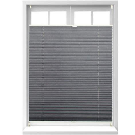 Relaxdays Pleated Blinds, No-Drilling, Adhesive Klemmfix, Folding Roller, Transparent, Shades, Grey, 90 x 130 cm