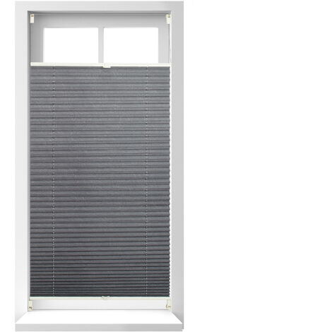 Relaxdays Pleated Blinds, No-Drilling, Adhesive Klemmfix, Folding Roller, Transparent, Shades, Grey, 90 x 210 cm