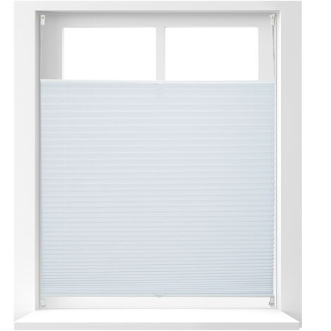 Relaxdays Pleated Blinds, No-Drilling, Adhesive Klemmfix, Folding Roller, Transparent, Shades, White, 100 x 130 cm