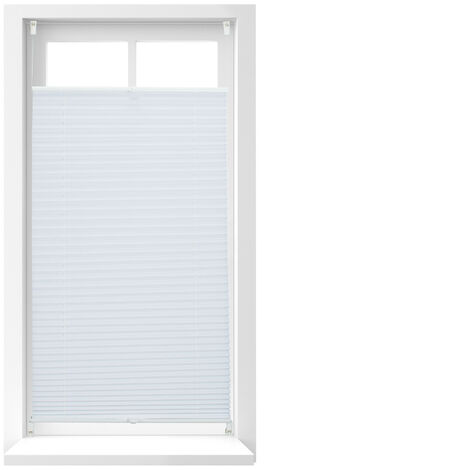 Relaxdays Pleated Blinds, No-Drilling, Adhesive Klemmfix, Folding Roller, Transparent, Shades, White, 60 x 130 cm