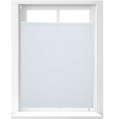 Relaxdays Pleated Blinds, No-Drilling, Adhesive Klemmfix, Folding Roller, Transparent, Shades, White, 90 x 130 cm