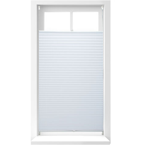 Relaxdays Pleated Blinds, No-Drilling, Adhesive Klemmfix, Folding Roller, Transparent, Shades, White, 90 x 210 cm