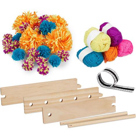 Relaxdays Pompom Making Kit, DIY Set, Craft Set, Pom Maker, Wool, Wooden Weaver, Home Activity, ø 2.5 - 13 cm, Colourful