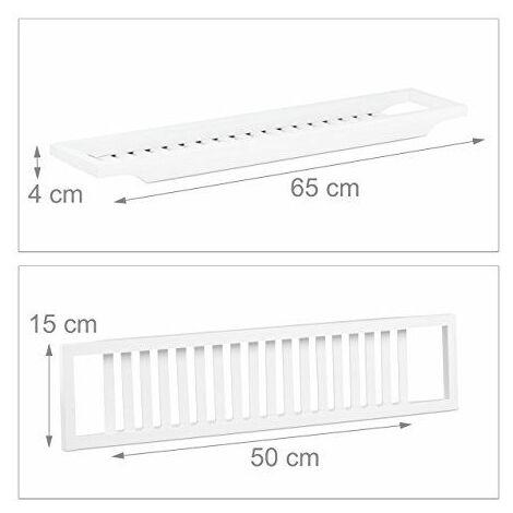 Relaxdays Pont de baignoire tablette de baignoire salle de bain en bambou HxlxP: 4 x 65 x 15 cm, blanc laqué