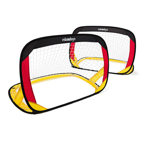 Relaxdays Pop Up Goal with German Flag Colors, 80 x 119 x 83 cm Set of 2 Football Soccer Goals for Children Deutschland Foldable Goals for the Yard w/ Handles & Carrying Case Mini Goal, Black Red Gold