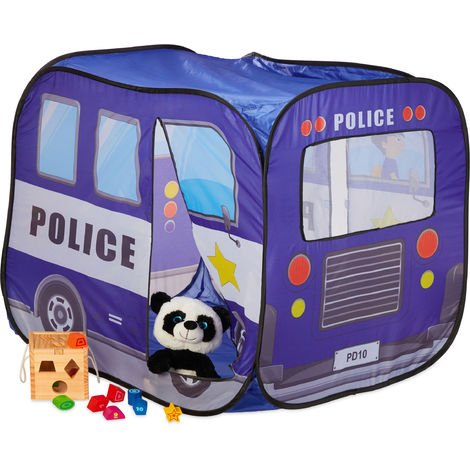 Relaxdays Pop Up Play Tent Police, Ball Pit For Children, Playhouse Police Patrol Car, HxWxD: 82.5x65.5x90.5 cm, Blue