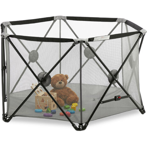Relaxdays Portable Playpen, Baby & Toddler, Foldable, In & Outdoor, Travel, Mesh, Hexagon, 72x128x110cm, Grey
