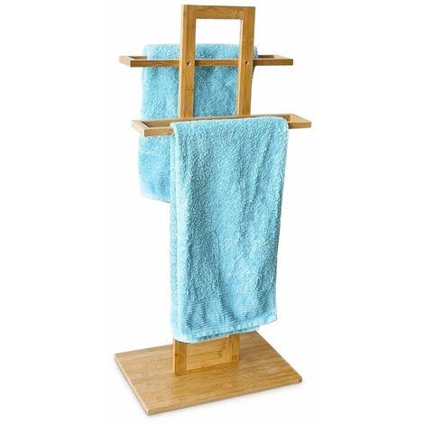 con Porta-spazzolini e Porta-Sapone Aste 37 x 25 x 85 cm Relaxdays Portasciugamani Autoportante Marrone /& Set Porta Accessori per Bagno 4 Pezzi totali in Colore Naturale bambu