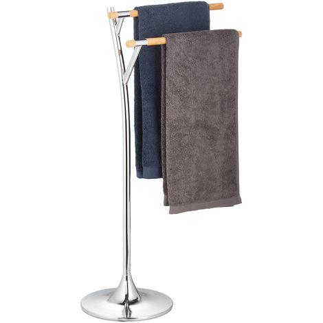 Relaxdays Porte-serviettes sur pied, support serviette 2 bras, bain douche, bois, acier, HxlxP: 85 x 52 x 26 cm, argent