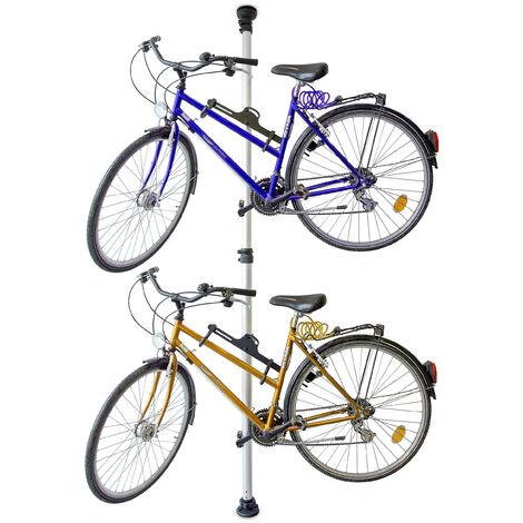 porte velo rang velo pour 2 bicyclettes accroche barre telescopique pour velo garage 160 340 cm gris