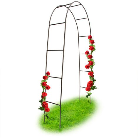 Relaxdays Powder-Coated Steel Rose Arch, Garden Arbour or Trellis, Weather-Proof Support for Climbing Plants, Dark Brown