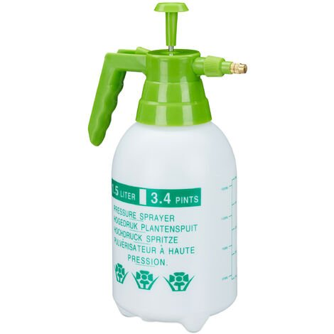 Relaxdays Pressure Sprayer, Adjustable Brass Nozzle, Garden, Plant Mister, Pest Control, 1.5 L, PE, White/Green