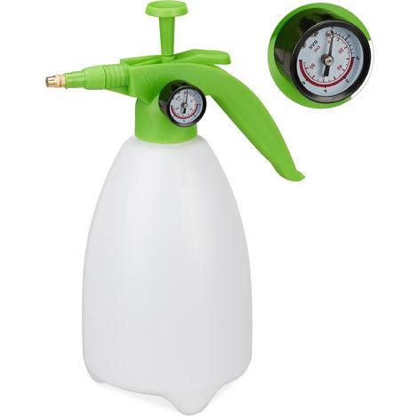 Relaxdays Pressure Sprayer Bottle, Adjustable Brass Nozzle, Manometer, Garden Pest Control, 2L, White/Green