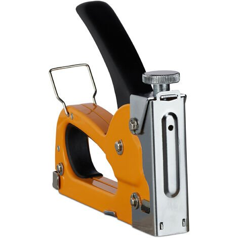 Relaxdays Professional Manual Staple Gun, Industrial, 500 Staples Included, Adjustable Power, 4-8 Replaceable Clip, Iron, Orange