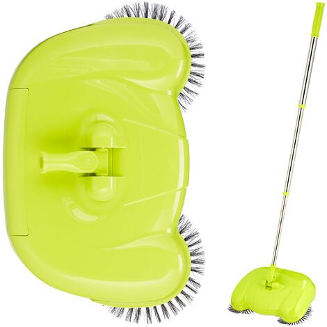 Relaxdays Push Sweeper for Hard Floors & Laminate, Mechanical & Manual Use, Handle 45-97 cm, Versatile, Green