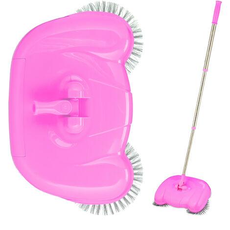Relaxdays Push Sweeper for Hard Floors & Laminate, Mechanical & Manual Use, Handle 45-97 cm, Versatile, Pink