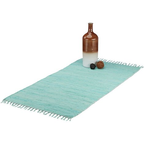 Relaxdays Rag Rug with Fringes, Handwoven Carpet Runner, Woven Cotton Area Rug, 70x140 cm, Light Blue