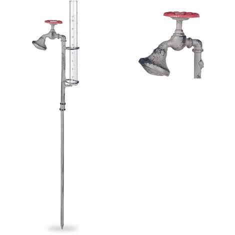 "Relaxdays Rain gauge Water Tap, Stake, Rustic, Rainfall Measurer, 17 cm, 7"", Glass, Metal, Grey"