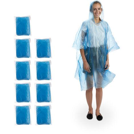 Relaxdays Rain Poncho Set of 10, With Hood, Single-Use Raincoat for Adults, Unisex Rain Protection Cape, PE, Blue